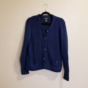 Eddie Bauer Blue knit Heavy Sweater cardigan